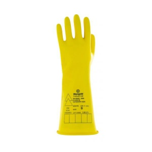 Ansell E015Y Electrician Class 00 Long Yellow Insulating Rubber Gloves