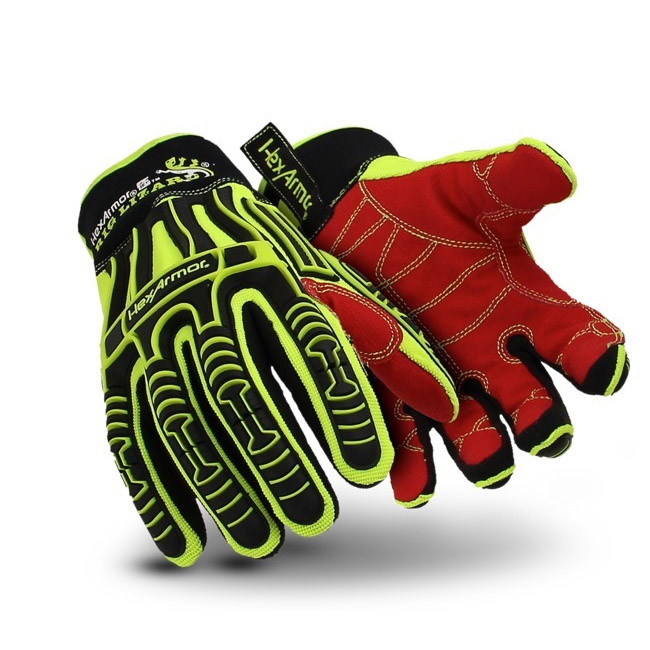 Hexarmor Rig Lizard Hi Vis Impact Protect Mechanics Gloves