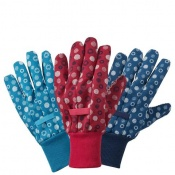 Briers Cross Hatch Dot Cotton Grip Gardening Gloves (Pack of 3 Pairs) B8682