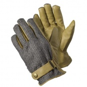 Briers Grey Leather Herringbone Gardening Gloves B7655