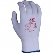 Knitted Nylon Low-Linting White Gloves NLNW