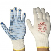Knitted Nylon Low-Linting White Gloves with PVC Palm Dots NLNW-D