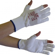 Partially Fingerless Knitted Nylon Low-Linting White Gloves NLNW-3F