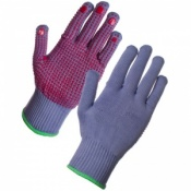 Supertouch PVC Dot Assembly Gloves Supergrey With Red Dot Palm 2698
