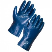 Supertouch Blue Grit Cotton Supported Nitrile Gloves - 27cm Interlock Liner 2260