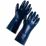 Supertouch Blue Grit Cotton Supported Nitrile Gloves - 35cm Jersey Liner 2269