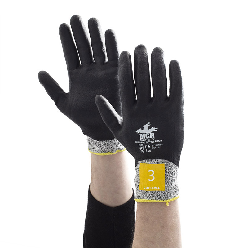 MCR Safety CT1007NF3 Nitrile Foam Cut Pro Fully Coated Safety Gloves
