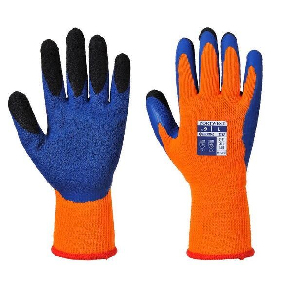 Portwest Thermal Latex Orange and Blue Gloves A185O4