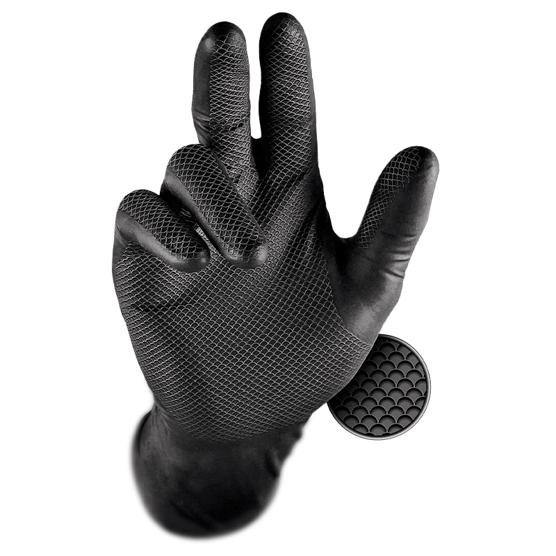 Grippaz Black Semi-Disposable Nitrile Grip Gloves