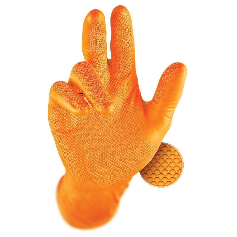 Grippaz Orange Semi-Disposable Nitrile Grip Gloves