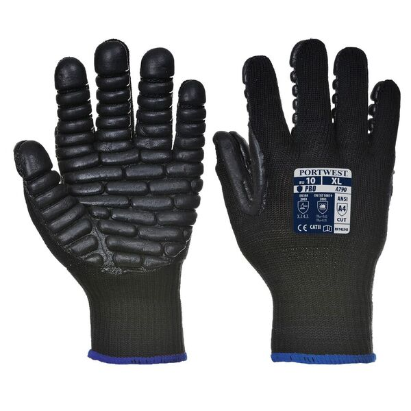Portwest Anti-Vibration Black Gloves A790