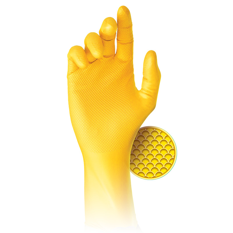 Grippaz Jan San Yellow Semi-Disposable Nitrile Gloves