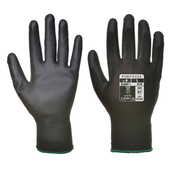 Portwest A120 Black PU Palm Gloves
