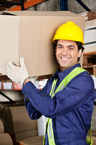 Warehouse Worker Wearing Safety Gloves