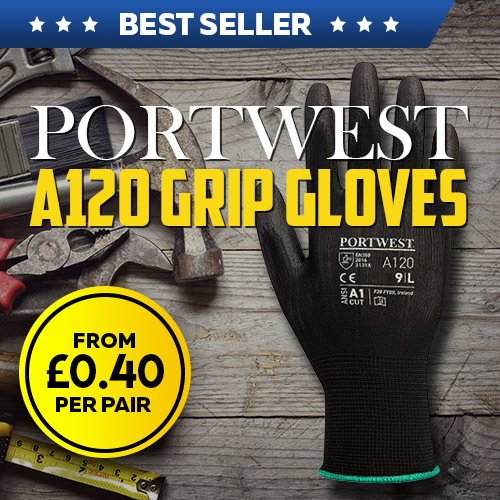 Portwest Black PU Palm Gloves