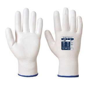 Portwest PU Palm Coated Level 3 Cut-Resistant White Gloves A620W6