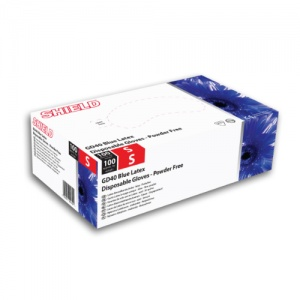 Shield GD40 Blue Powder-Free Latex Disposable Gloves