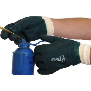 Double Dipped Green PVC Knitwrist Gloves V325