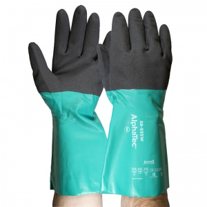 Ansell AlphaTec 58-535W Chemical-Resistant Gauntlet Gloves