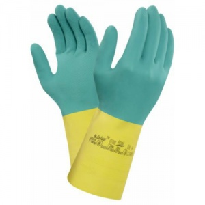 Ansell Bi-Colour 87-900 Heavy-Weight Chemical-Resistant Gauntlet Gloves