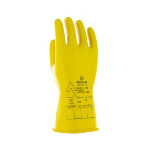 Ansell E013Y Electrician Class 00 Yellow Insulating Rubber Gloves