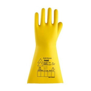 Ansell E021Y Electrician Class 1 Long Yellow Insulating Rubber Gloves