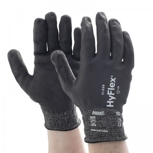 Ansell HyFlex 11-539 Level 3 Cut-Resistant Fully Dipped Grip Work Gloves