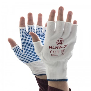 Fingerless Knitted Nylon Low-Linting White Gloves with PVC Palm Dots NLNW-DF