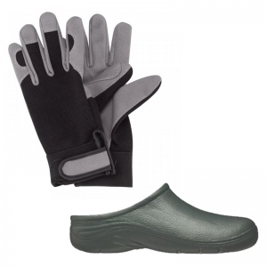 Gardening Men's Bundle with Garden Clogs and Briers Leather Gloves