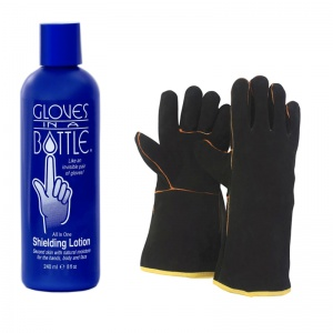 Gloves in a Bottle and Briers Leather Gauntlet Gloves Summer Gardening Bundle