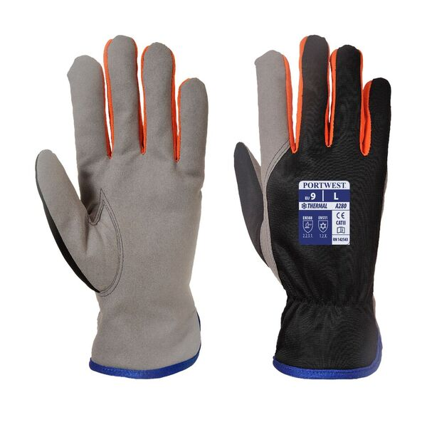 Portwest Fleece Winter Warm INSULATEX Lined Grip Gloves Black or Navy