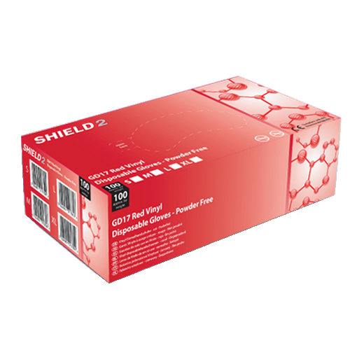 Shield2 Gd17 Powder Free Vinyl Red Disposable Gloves
