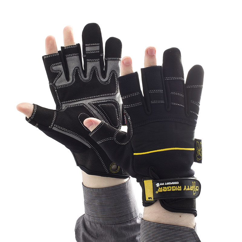 Dirty Rigger Leather Grip Framer 3 Exposed Fingers Fingerless Gloves Medium