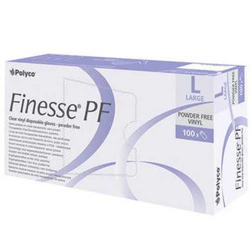 POLYCO Finesse PF Small Blue Vinyl Disposable Gloves Box of 100 GLOVES