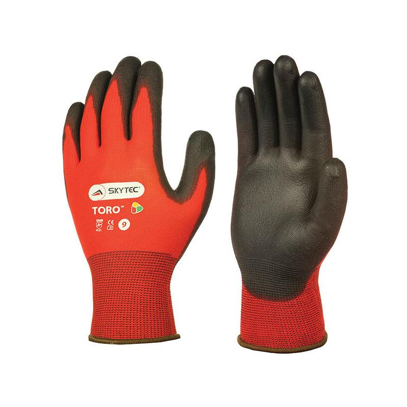 10 x Skytec Ninja Flex Work Gloves Hand Protection Nylon Red Black All Sizes