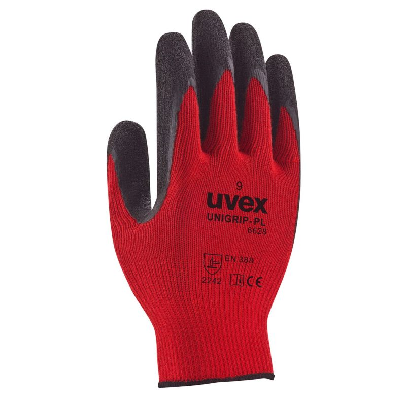 Uvex Unigrip PL 6628 Red Latex-Coated Safety Gloves