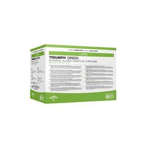 Medline Triumph Green Latex Sterile Powder Free Surgical Gloves