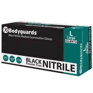 Bodyguards GL897 Black Nitrile Disposable Gloves