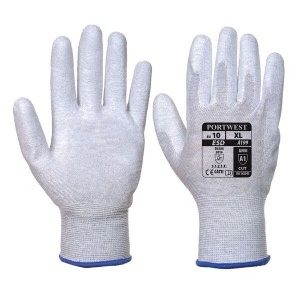 Portwest Anti-Static PU Palm Coated Grey Gloves A199GR