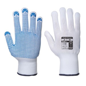 Portwest Dot Grip Dexterous White and Blue Gloves A110WB (Case of 216 Pairs)