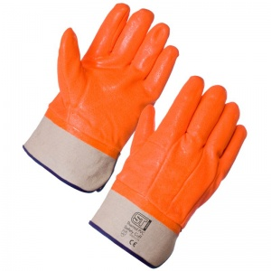 Supertouch Thermal PVC Hi Vis Safety Cuff Gloves 23463