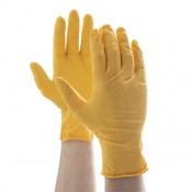 Aurelia Robust Grip Nitrile Powder Free Yellow Gloves 43897-0