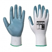 Portwest Nitrile Grip Grey and White Gloves A310GRW