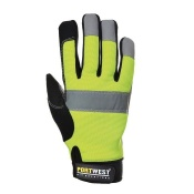 Portwest Heavy-Duty Leather Tradesman Hi-Vis Gloves A710YE