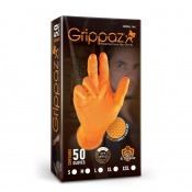 Grippaz Orange Semi-Disposable Nitrile Grip Gloves (Pack of 50)