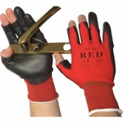 Three Fingerless Red Handling Gloves PCN-12-Red