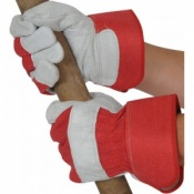 Red Rigger Gloves With Leather Knuckle Protection USUR