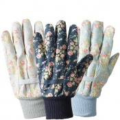 Briers Julie Dodsworth Flower Girl Cotton Grip Gardening Gloves (Pack of 3 Pairs) B6960