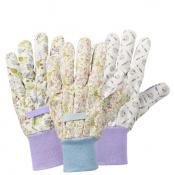 Briers Julie Dodsworth Lavender Garden Cotton Grip Gardening Gloves (Pack of 3) B8697