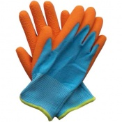 Briers Kids Junior Digger Orange and Blue Gardening Gloves B5313